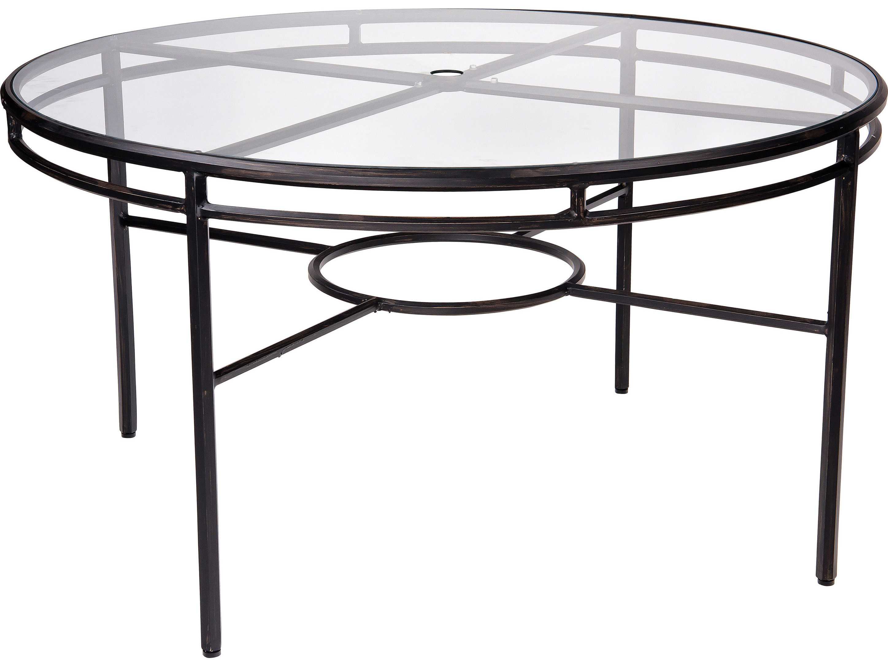 54 54 Glass Table Top: Woodard Nob Hill Aluminum 54 Round Glass Top Table With