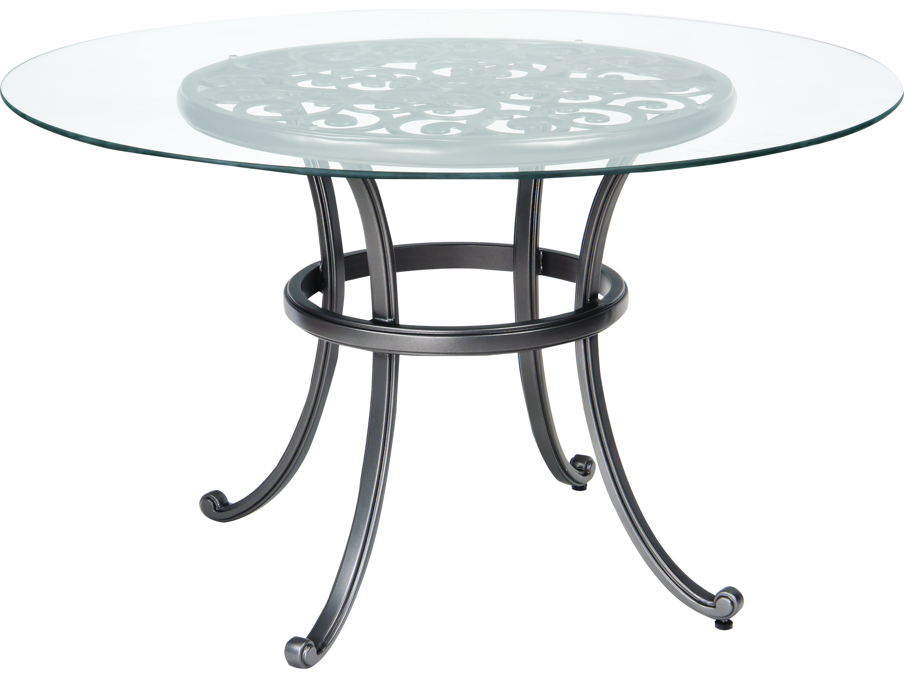 Woodard new orleans cast aluminum 48 round glass top table for Outdoor dining table glass top