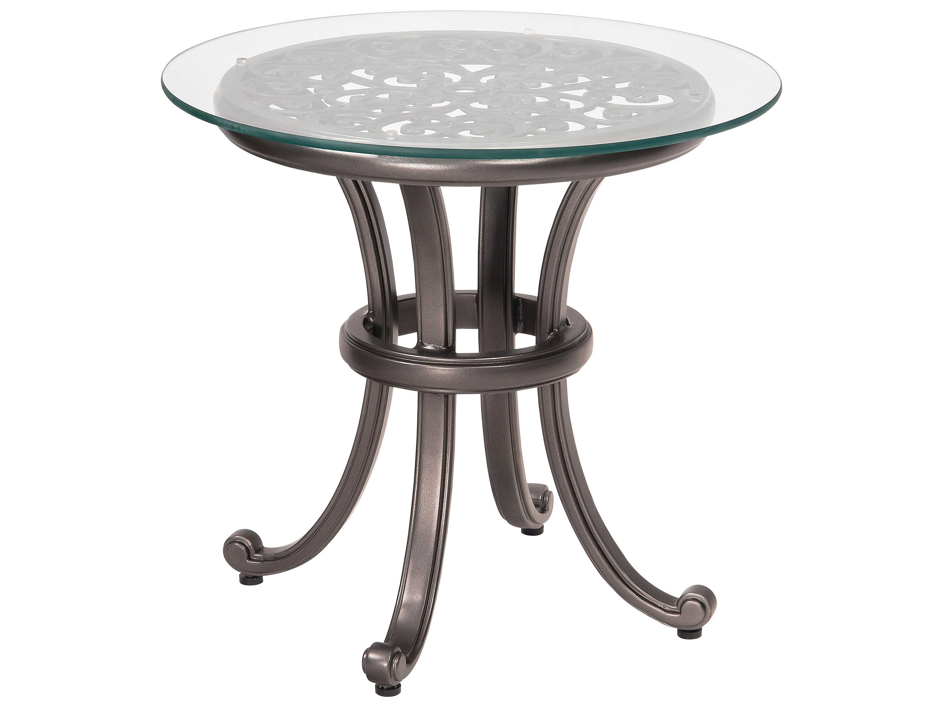 Woodard New Orleans Cast Aluminum 24 Round Glass Top End ...