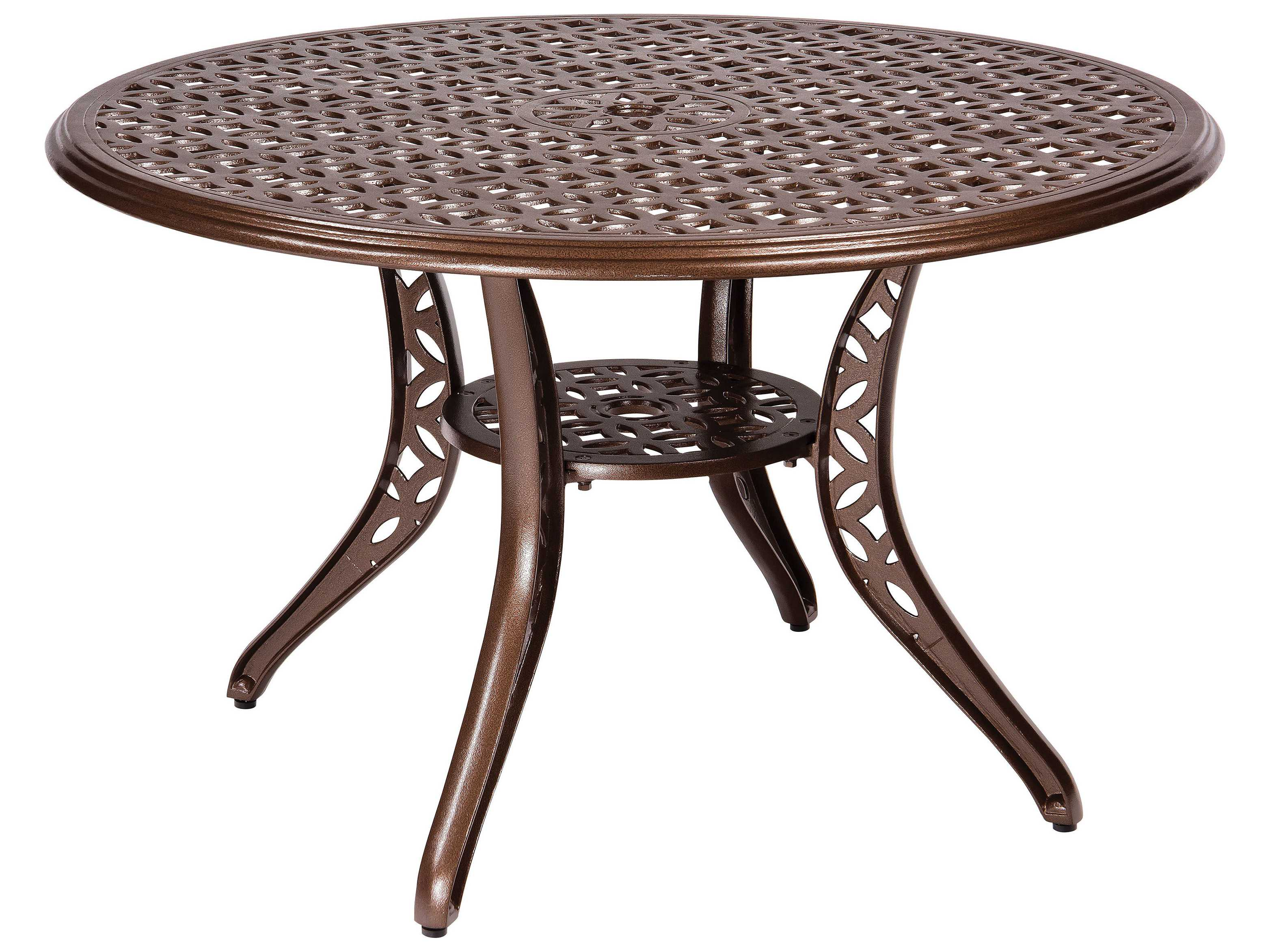 Woodard casa cast aluminum 48 round dining table with - Aluminium picnic table with umbrella ...