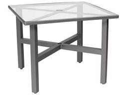 Woodard Elite Aluminum 36 Square Clear Glass Top Table with Umbrella Hole