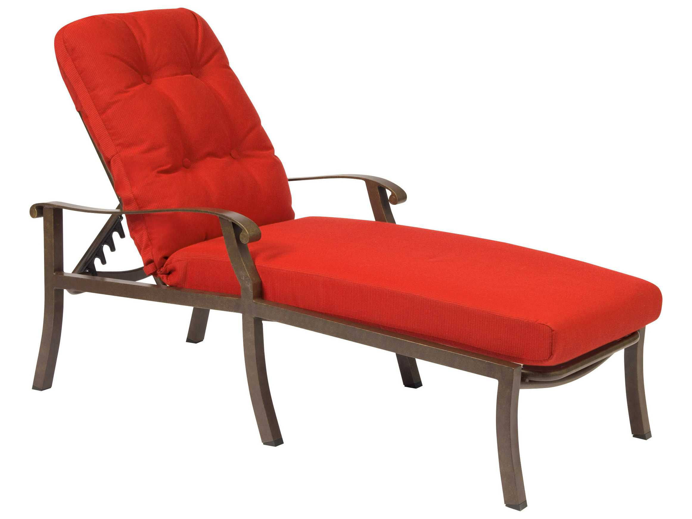 Woodard cortland cushion aluminum adjustable chaise lounge for Chaise lounge aluminum