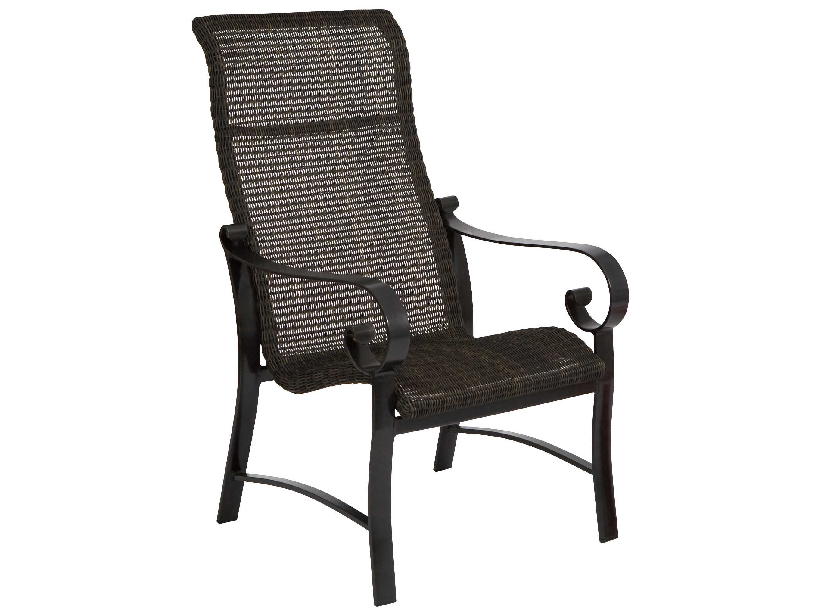 woodard belden woven round weave wicker hi back dining chair 5j0425