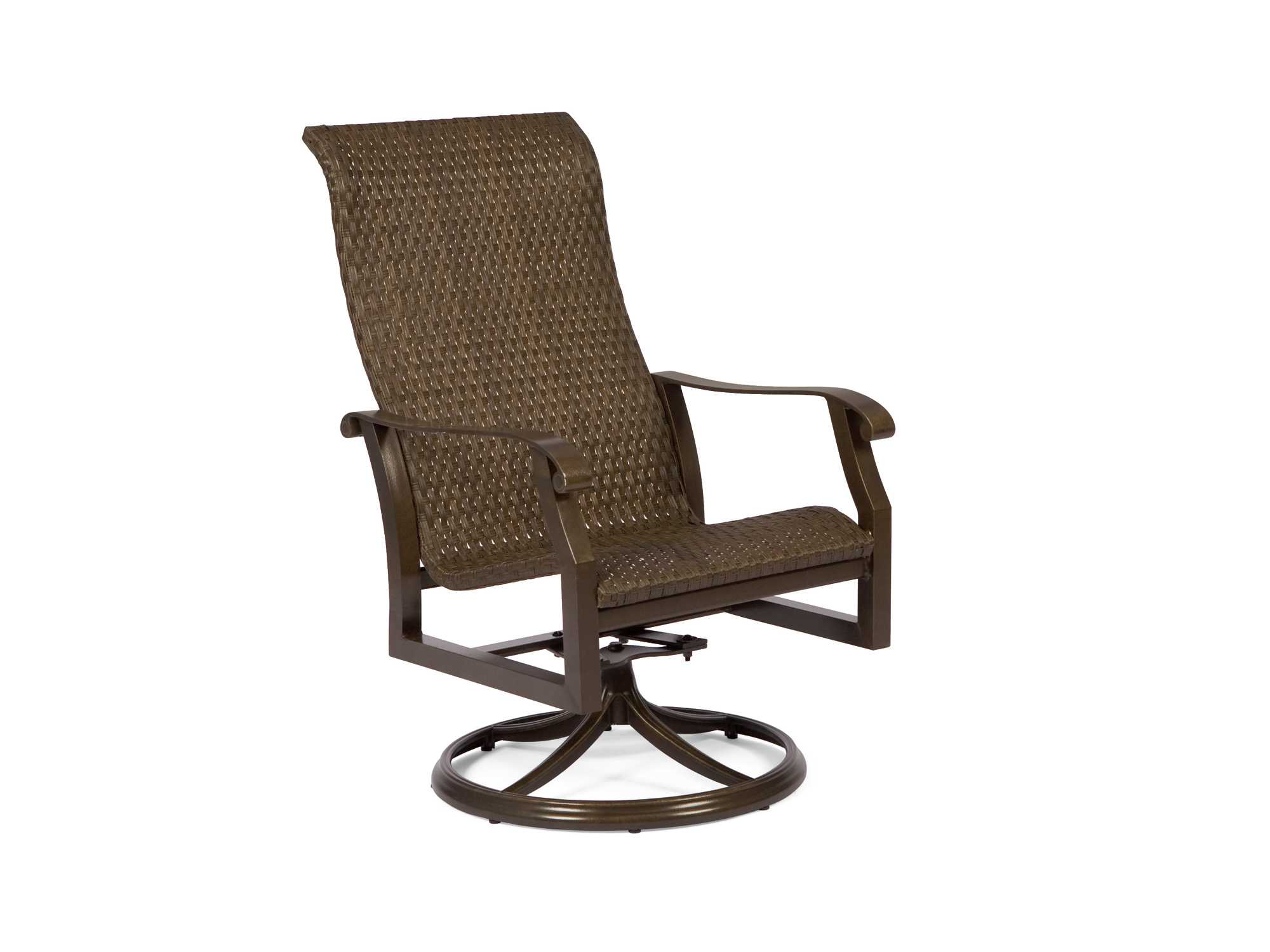 Woodard cortland woven round weave wicker high back swivel for Round patio chair