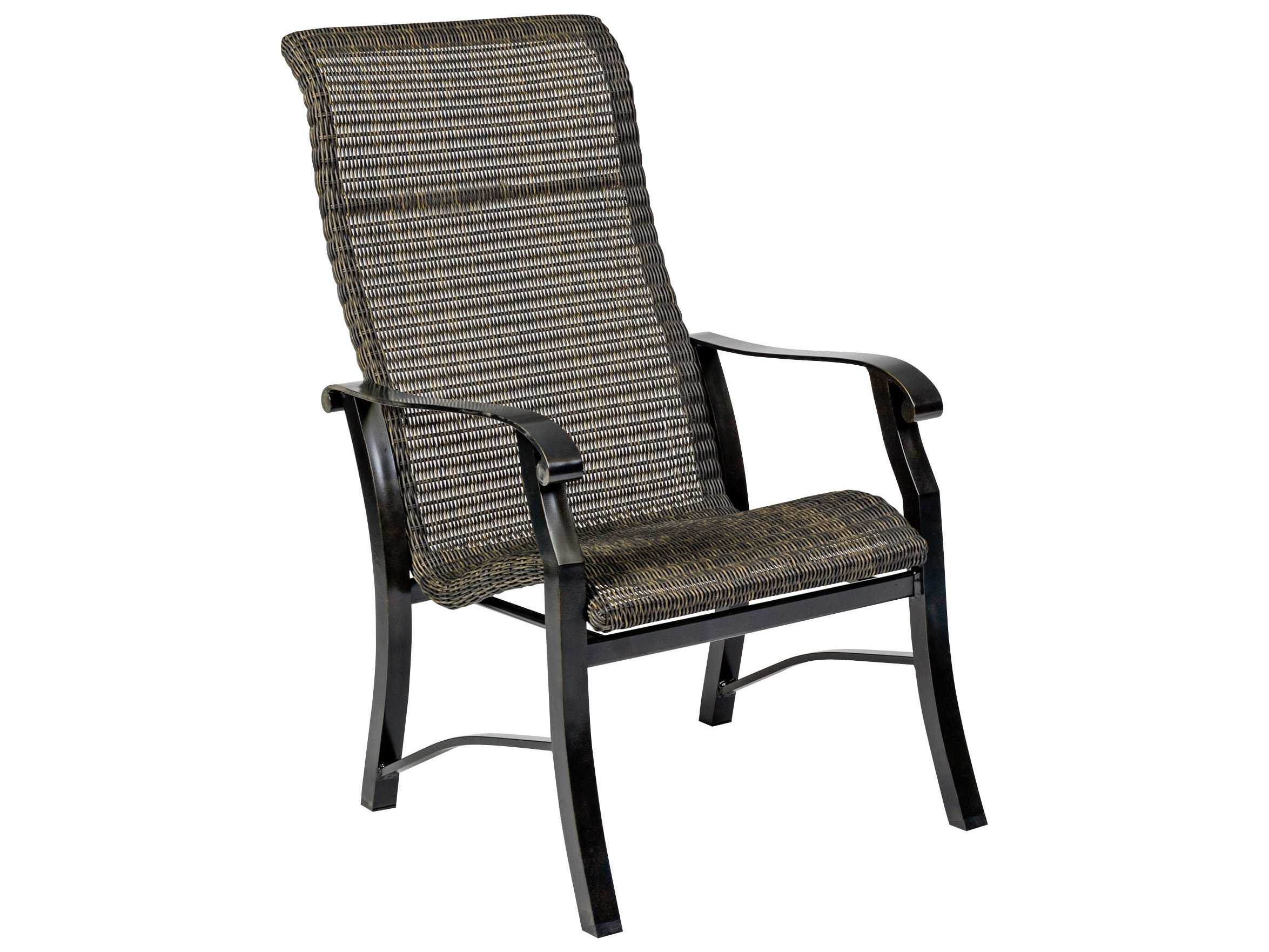 cortland woven round weave wicker high back dining chair 5v0426