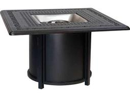 Woodard Universal Aluminum Chat Height Round Fire Table Base with Square Burner