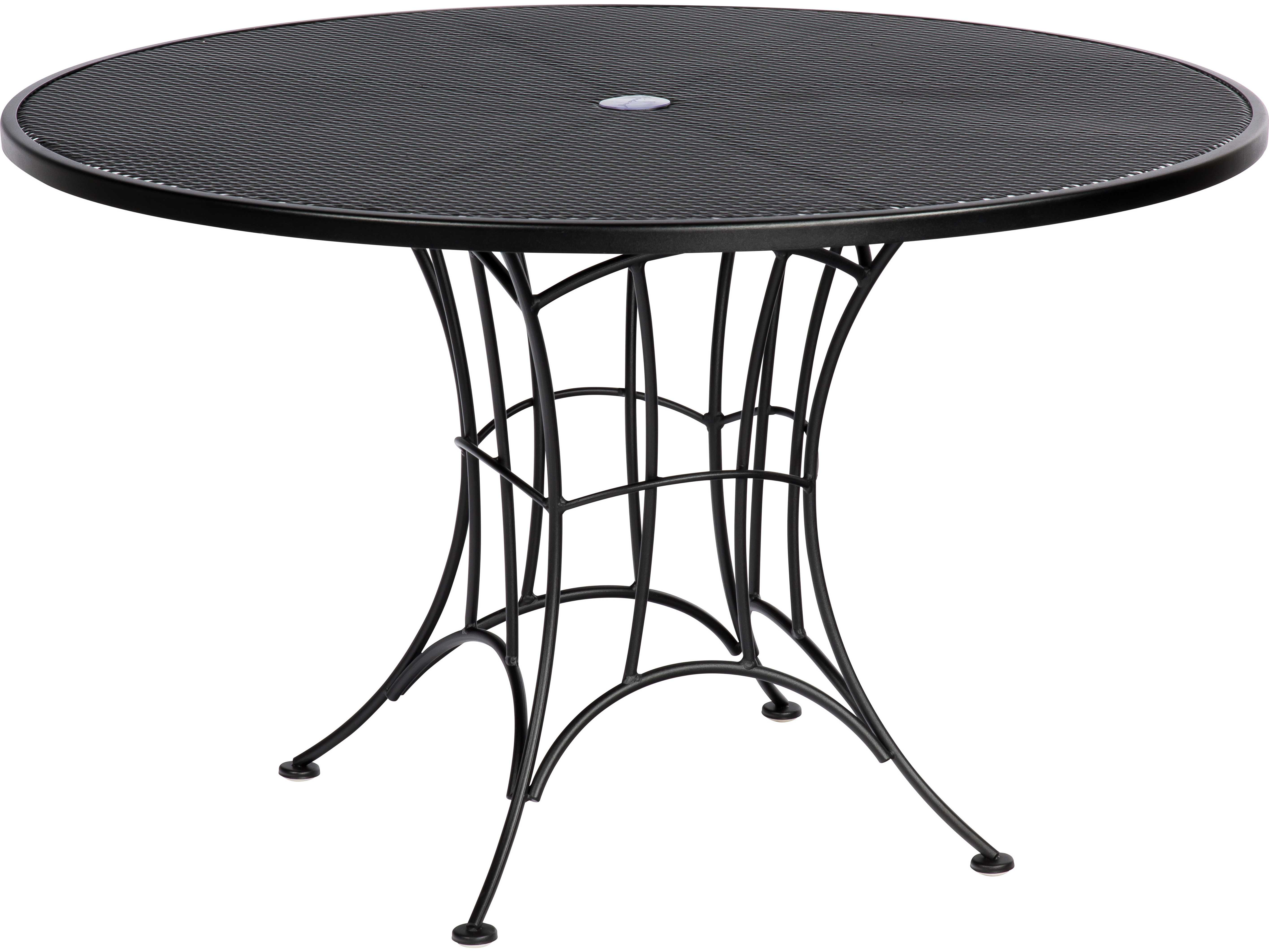woodard hamilton wrought iron round umbrella dining table 6k0137. Black Bedroom Furniture Sets. Home Design Ideas