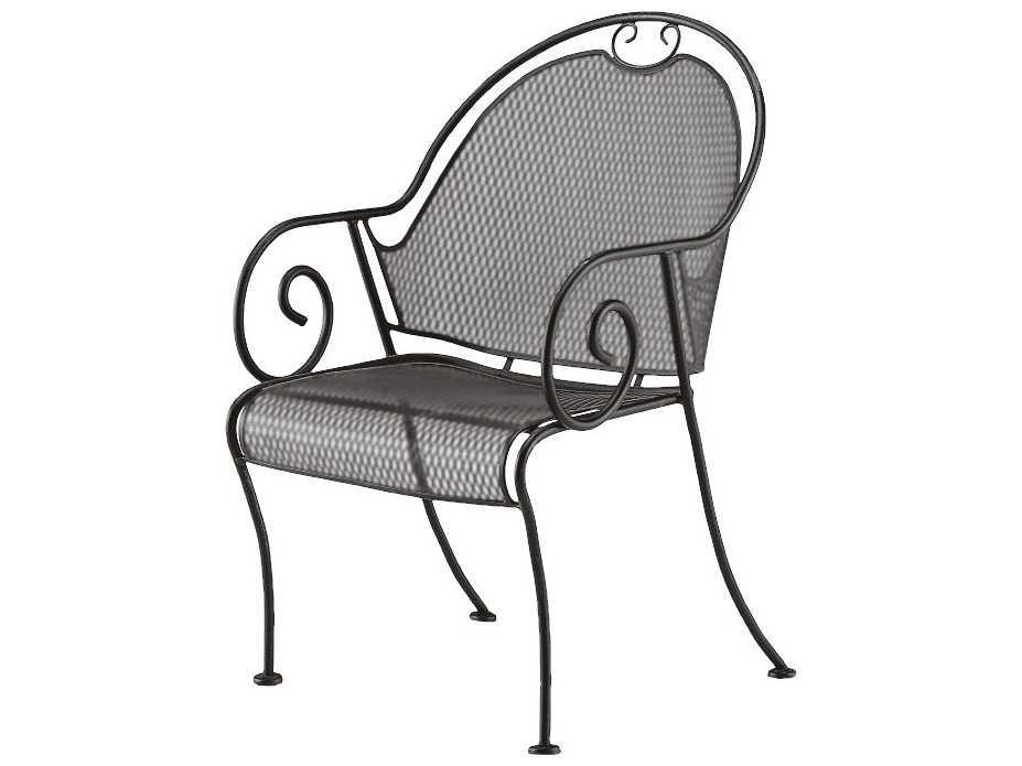 Woodard cantebury wrought iron barrel dining chair l
