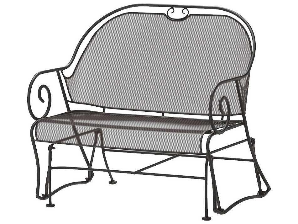 Woodard Cantebury Wrought Iron Gliding Barrel Loveseat 7l0079