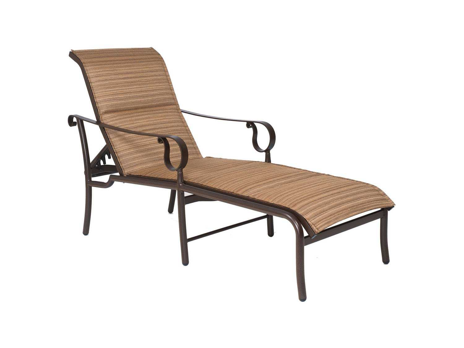 Woodard ridgecrest padded sling aluminum adjustable chaise for Aluminum chaise lounges