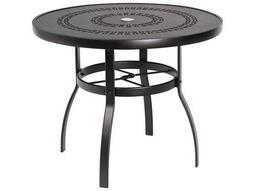 Woodard Deluxe Aluminum 36 Round Trellis Top Table with Umbrella Hole