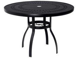 Woodard Deluxe Aluminum 42 Round Trellis Top Table with Umbrella Hole