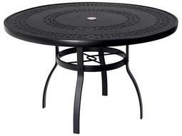 Woodard Deluxe Aluminum 48 Round Trellis Top Table with Umbrella Hole