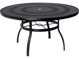 Woodard Deluxe Aluminum 54 Round Trellis Top Table with Umbrella Hole
