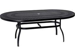 Woodard Deluxe Aluminum 74 x 42 Oval Trellis Top Table with Umbrella Hole