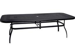 Woodard Deluxe Aluminum 90 x 44 Rectangular Trellis Top Table with Umbrella Hole
