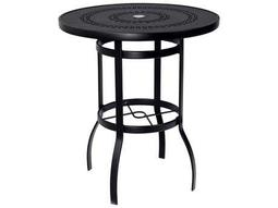 Woodard Deluxe Aluminum 36 Round Trellis Top Bar Height Table with Umbrella Hole