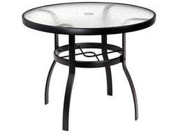 Woodard Deluxe Aluminum 36 Round Acrylic Top Table with Umbrella Hole