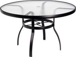 Woodard Deluxe Aluminum 48 Round Acrylic Top Table with Umbrella Hole