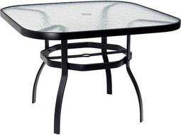 Woodard Deluxe Aluminum 42 Obscure Glass Top Table with Umbrella Hole