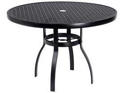 Woodard Deluxe Aluminum 42 Round Lattice Top Table with Umbrella Hole