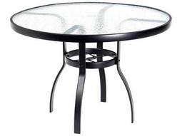Woodard Deluxe Aluminum 42 Round Obscure Glass Top Table with Umbrella Hole