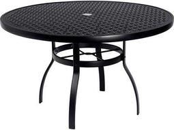 Woodard Deluxe Aluminum 48 Round Lattice Top Table with Umbrella Hole