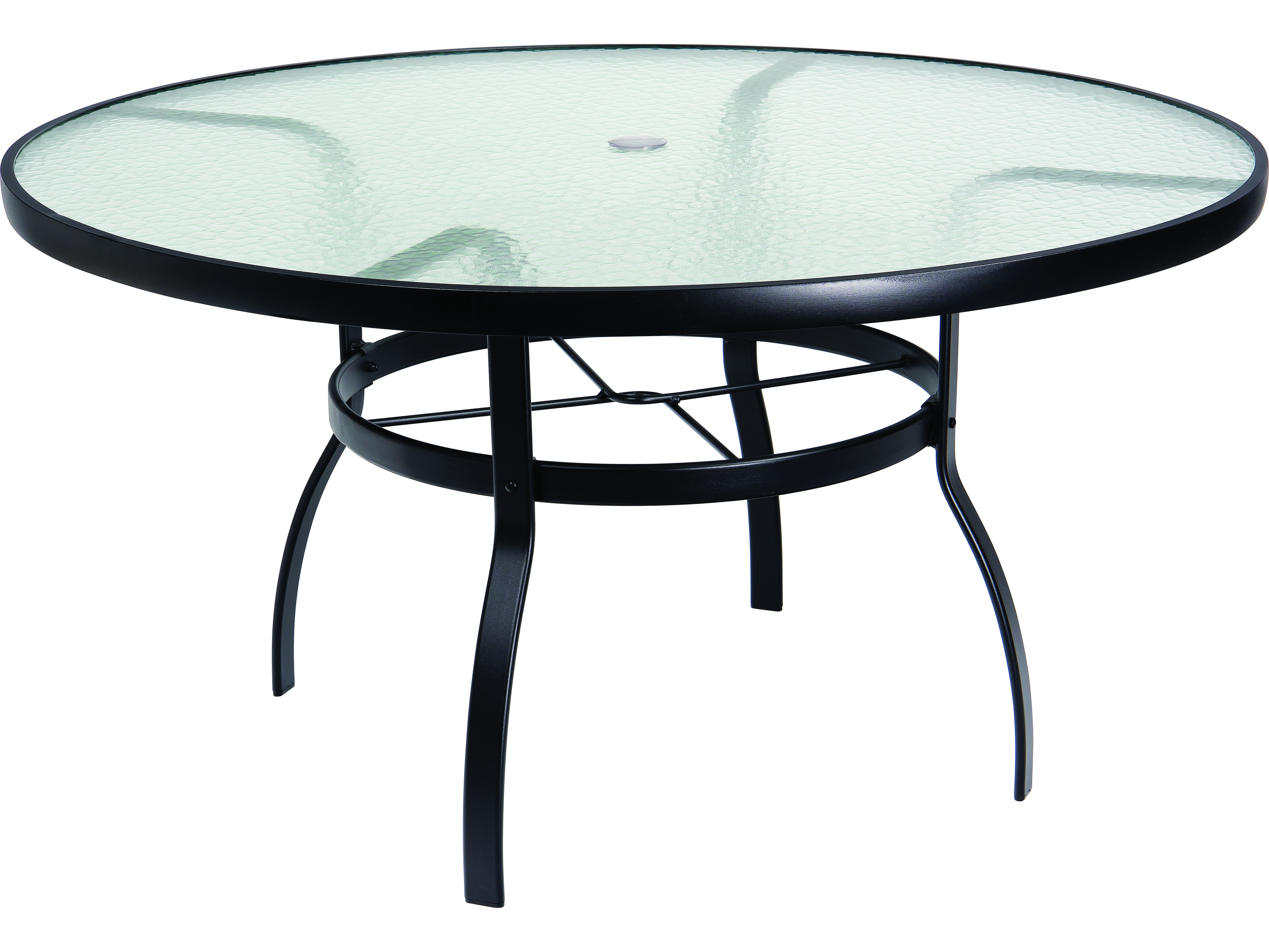 woodard deluxe aluminum 54 round obscure glass top table with umbrella hole 826154w. Black Bedroom Furniture Sets. Home Design Ideas