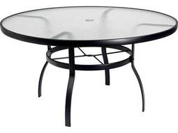 Woodard Deluxe Aluminum 54 Round Obscure Glass Top Table with Umbrella Hole