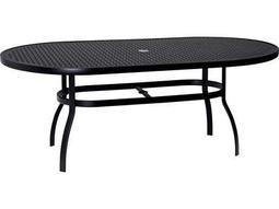 Woodard Deluxe Aluminum 74 x 42 Oval Lattice Top Table with Umbrella Hole
