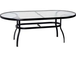 Woodard Deluxe Aluminum 74 x 42 Oval Obscure Glass Top Table with Umbrella Hole