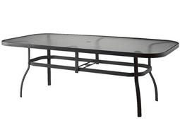 Woodard Deluxe Aluminum 90 x 44 Rectangular Obscure Glass Top Table with Umbrella Hole