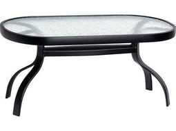 Woodard Deluxe Aluminum 37.5 x 19 Rectangular Obscure Glass Top Coffee Table