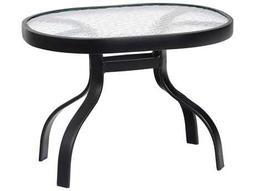 Woodard Aluminum 24 x 19 Rectangular Obscure Glass Top End Table