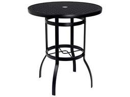 Woodard Deluxe Aluminum 36 Round Lattice Top Bar Height Table with Umbrella Hole