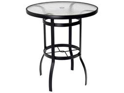 Woodard Deluxe Aluminum 36 Round Obscure Glass Top Bar Height Table with Umbrella Hole