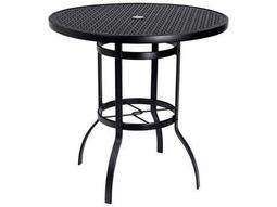 Woodard Deluxe Aluminum 42 Round Lattice Top Bar Height Table with Umbrella Hole