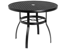 Woodard Deluxe Aluminum 36 Round Lattice Top Table with Umbrella Hole