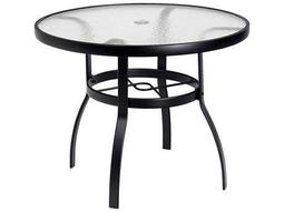 Woodard Deluxe Aluminum 36 Round Obscure Glass Top Table with Umbrella Hole