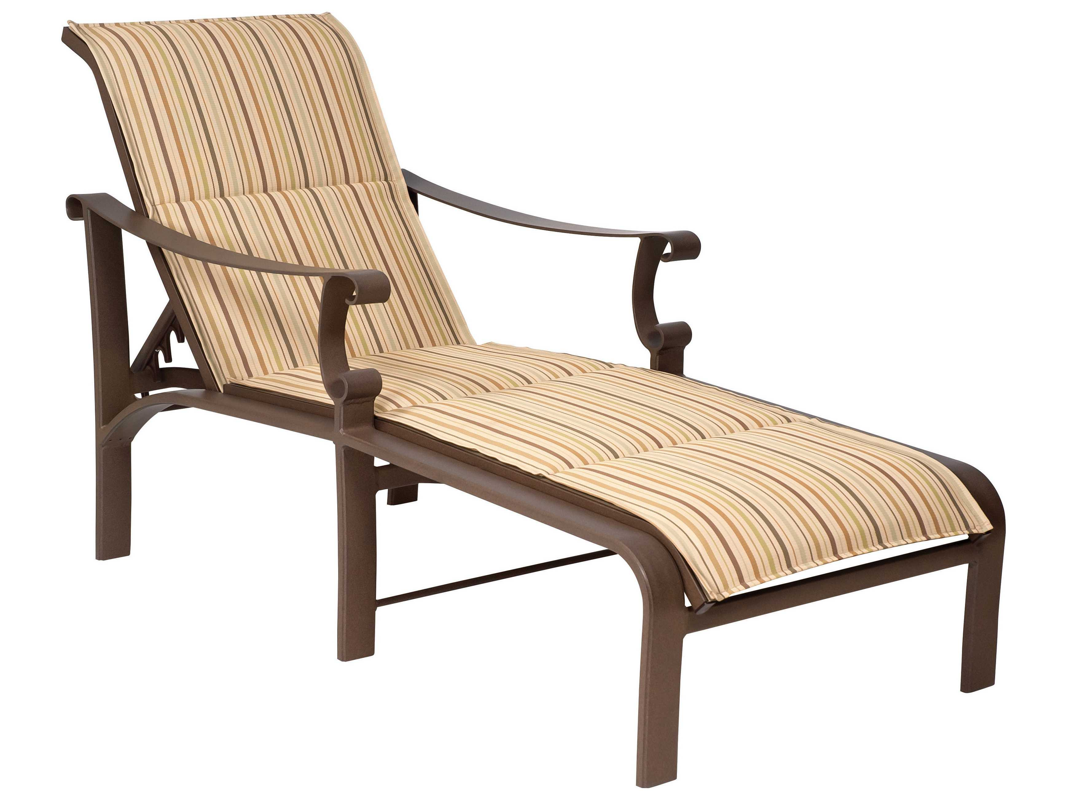 Woodard bungalow padded sling aluminum adjustable chaise for Aluminum sling chaise lounge