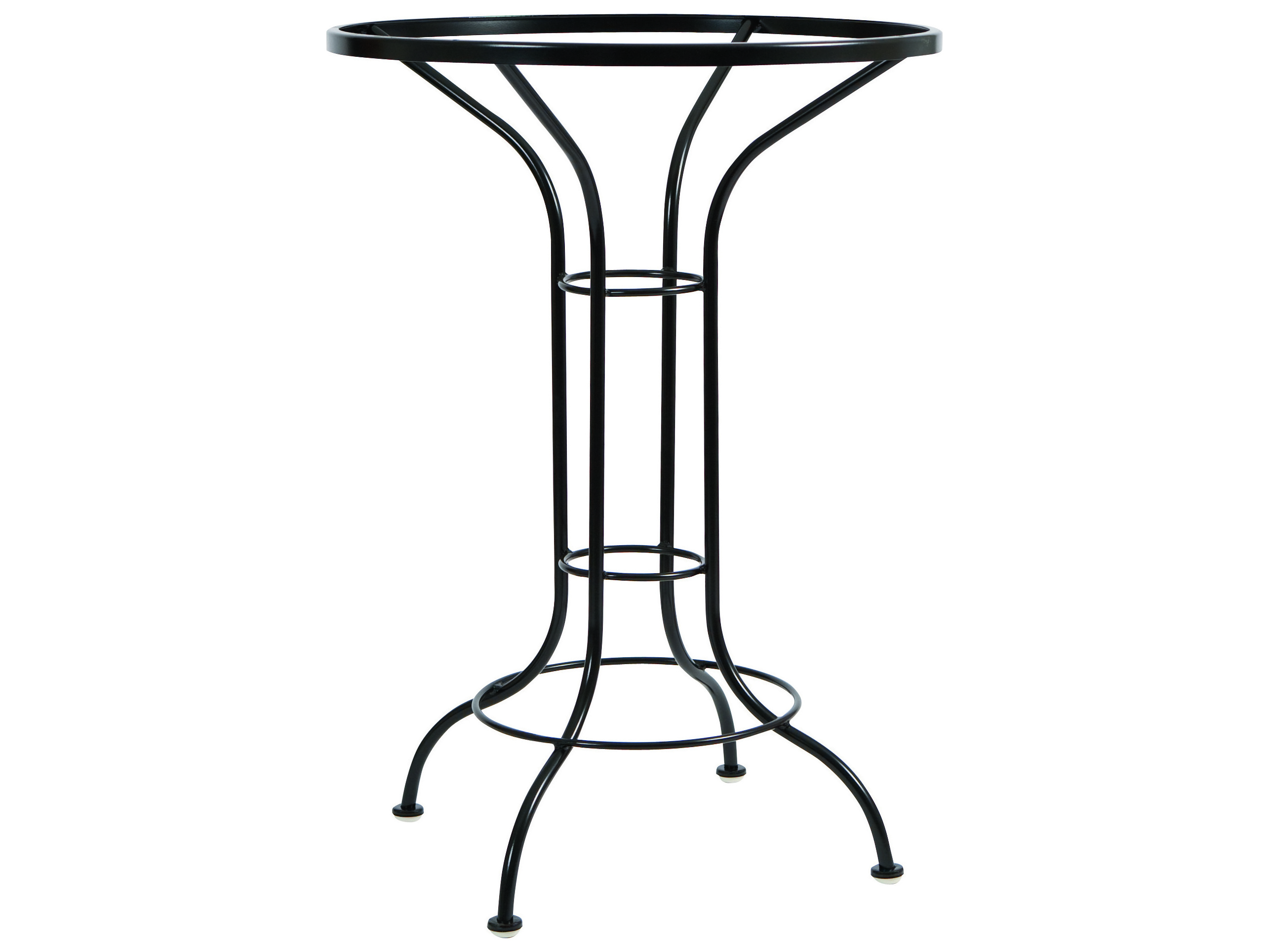 Woodard wrought iron round bar height table base 88f057 for Outdoor table bases wrought iron