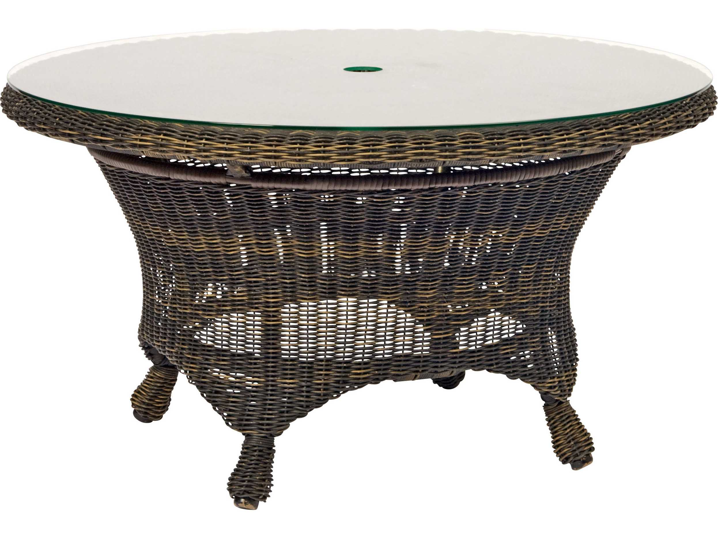 Woodard serengeti wicker 36 round chat table with umbrella - Picnic table with umbrella hole ...