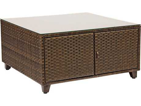 Woodard Del Cristo Wicker 36 Square Glass Top Coffee Table 950436