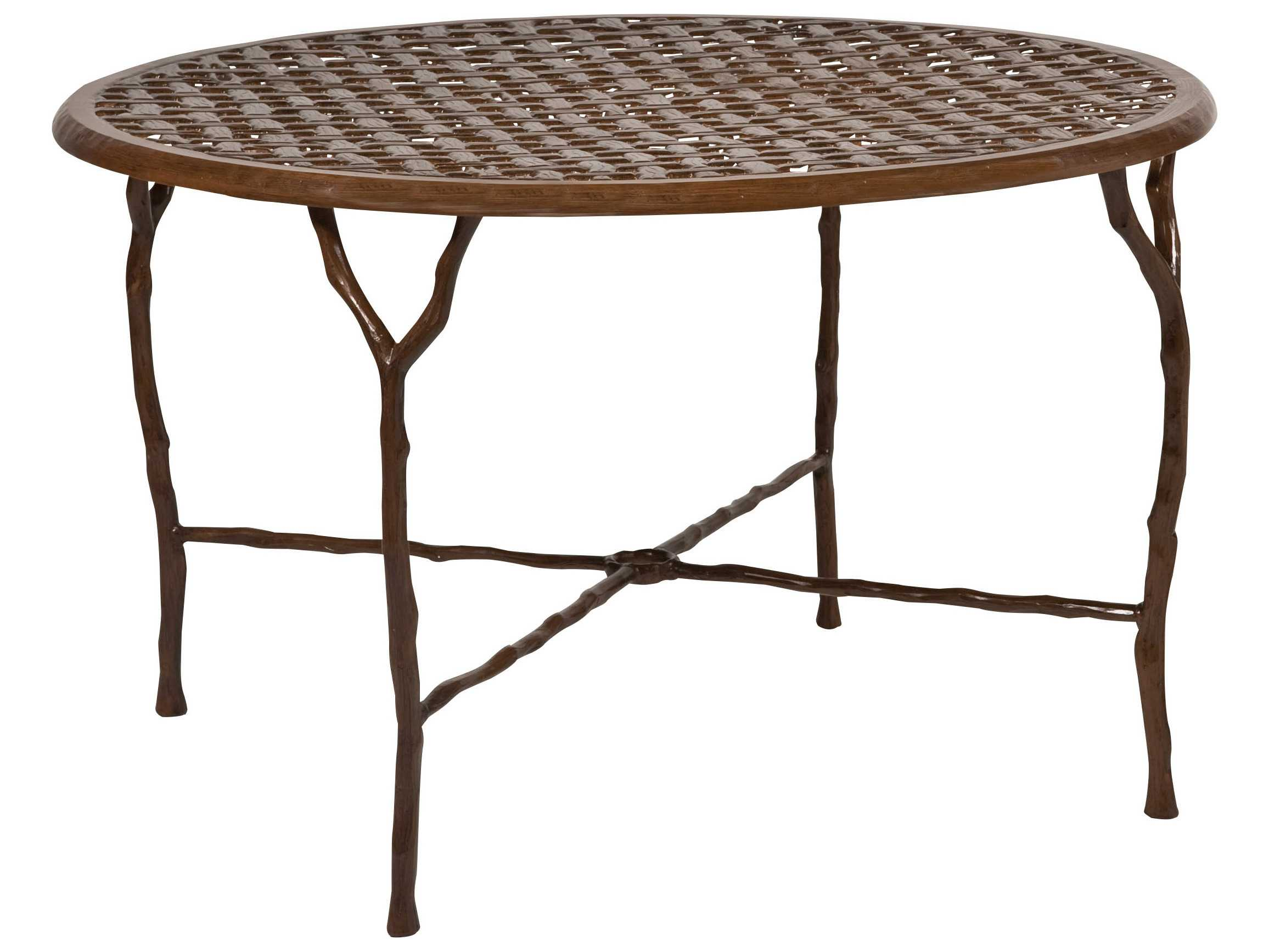 Woodard latour cast aluminum 48 3 round dining table with - Picnic table with umbrella hole ...