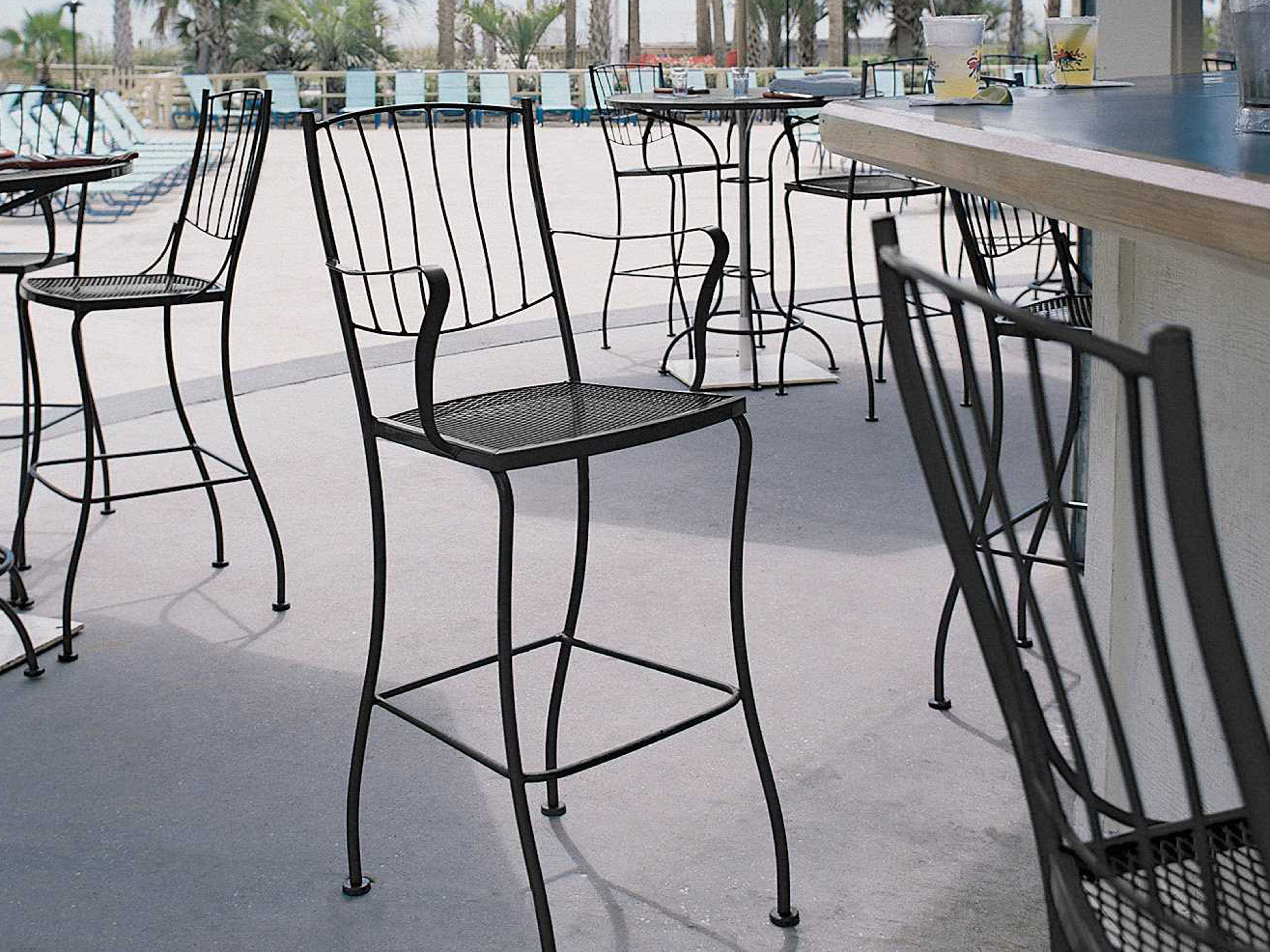 Woodard Aurora Wrought Iron Bar Stool 5l0068