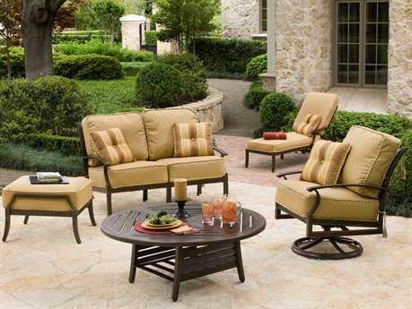 Woodard Sheridan Cushion Cast Aluminum 4 Person Cushion Conversation Patio Lounge Set