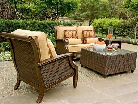 Woodard Del Cristo Wicker 3 Person Cushion Conversation Patio Lounge Set