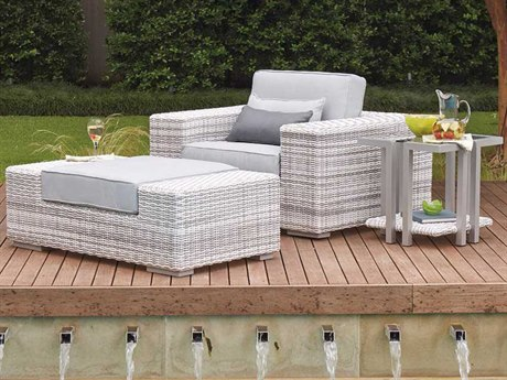 Woodard Imprint Wicker 1 Person Cushion Conversation Patio Lounge Set