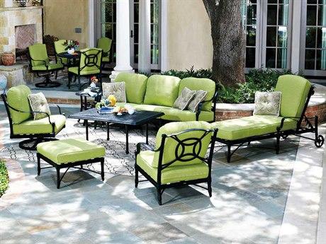 Woodard Isla Aluminum 6 Person Cushion Conversation Patio Lounge Set