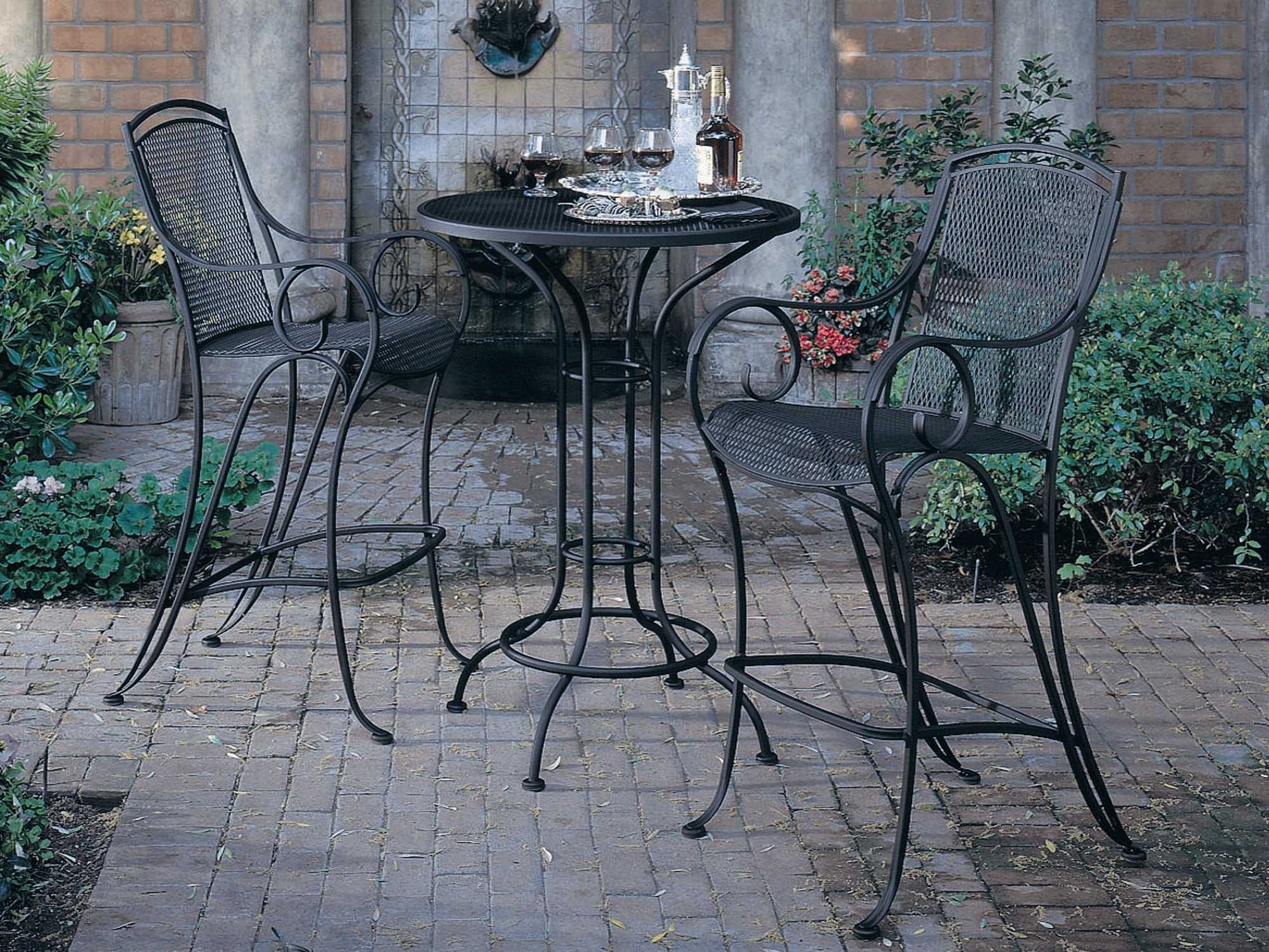 Woodard Aurora Wrought Iron 30 Round Mesh Top Bar Height